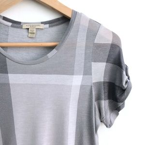 Burberry Check Rolled Sleeves Tee - size Small